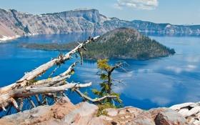 Обои небо, облака, деревья, горы, природа, озеро, остров