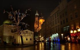 Картинка ночь, огни, Польша, Краков, церковь Святого Адальберта, Мариацкий костел