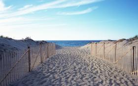 Обои дорожка, пляж, горизонт, море