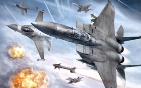 Обои полет, взрывы, истребитель, самолеты, в небе, Ace Combat 6, Fires of Liberation