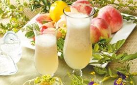 Обои цветы, бокалы, сок, персики