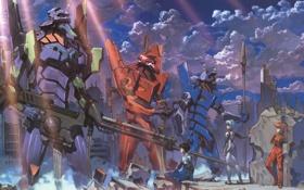 Картинка роботы, евангелион, asuka, battle, unit 00, Evangelion, мехи