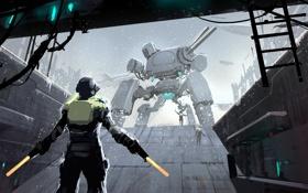 Обои снег, огни, робот, Человек, лестница, бункер