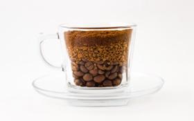 Картинка стекло, кофе, зерна, чашка, блюдце