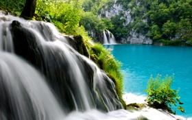 Обои озеро, камни, дерево, скалы, водопад, поток