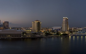 Картинка море, мост, город, небоскребы, утро, залив