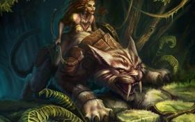 Картинка кошка, джунгли, девочка, клыки, охотник, саблезубая