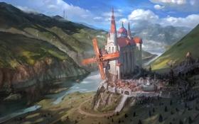 Обои горы, река, замок, мельница, королевство