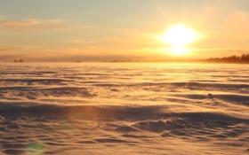Картинка поле, небо, облака, свет, снег, деревья, закат
