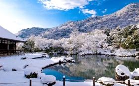 Картинка деревья, зима, горы, снег, небо, дом, озеро