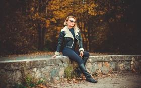 Картинка осень, фигура, очки, куртка, ножки