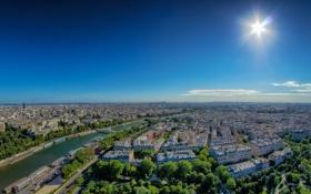 Картинка небо, солнце, мост, река, Франция, Париж, Сена