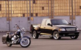 Обои чёрный, мотоцикл, ford, форд, пикап, f-150, cruiser