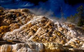 Обои небо, деревья, камни, Вайоминг, USA, США, Wyoming