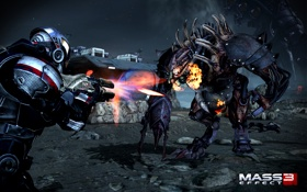 Обои бой, Тварь, Шепард, Mass Effect 3, Shepard, Жнец