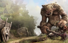 Картинка лес, монстр, Gothic 4, тролль, воин, труп, Arcania