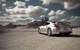 Обои небо, облака, серебристый, Nissan, ниссан, 370z, silvery