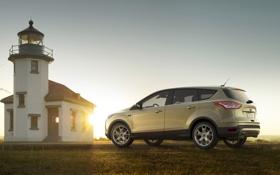 Обои небо, солнце, маяк, Ford, Форд, джип, вид сзади