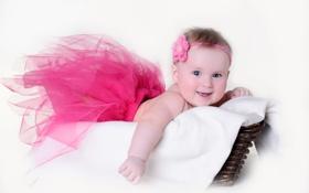 Обои радость, наряд, flower, dress, цветочек, joy, Маленькая девочка