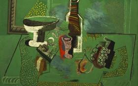 Обои абстракция, стол, обои, бутылка, картина, ваза, натюрморт