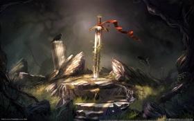 Обои камни, птица, меч, лента, колонны, ворон, trine 2