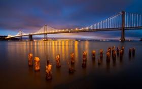 Картинка закат, мост, огни, вечер, порт, Калифорния, залив