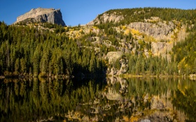 Картинка США, камни, скалы, Bear Lake, Rocky Mountain National Park, озеро, деревья