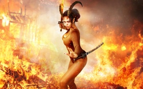 Обои demoness horns, fire, pose