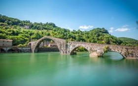 Обои деревья, дома, склон, Италия, Тоскана, Борго-а-Моццано, мост Марии Магдалины