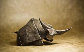 Картинка brown, origami, рога, horns, buffalo, looking, глядя