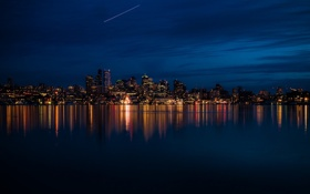 Картинка ночь, lights, огни, река, Вашингтон, USA, США