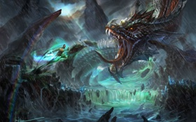 Картинка река, дождь, скалы, дракон, человек, водопад, арт