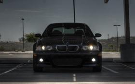 Картинка bmw, бмв, фонари, парковка, blue, передок, свет фар