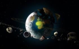 Картинка машина, космос, земля, вещи, череп, планета, телевизор