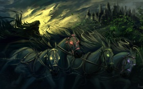 Картинка животные, фантастика, тьма, лошади, арт