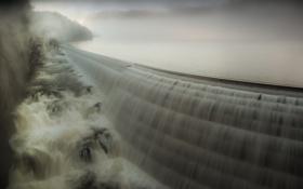 Обои вода, пейзаж, плотина