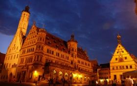Обои небо, ратуша, ночь, Ротенбург-на-Таубере, огни, Германия, дома