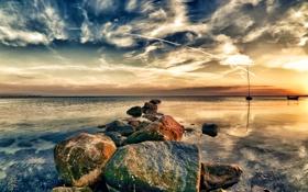 Картинка закат, пейзаж, озеро, природа, камни