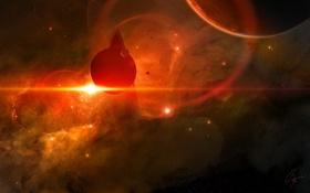 Картинка облака, звезды, кольца, газ, планеты, спутники