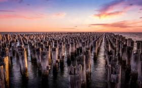 Обои закат, Melbourne, Princes Pier