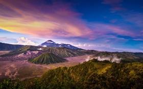 Обои пейзаж, природа, Индонезия, панорама, Ява, Tengger, вулканический комплекс-кальдеры Тенгер