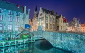 Картинка Брюгге, фотограф, ночь, канал, огни, Бельгия, дома