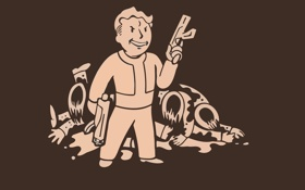 Картинка пистолет, фоллаут, Волт-Бой, Fallout, vault boy, труп, минимализм