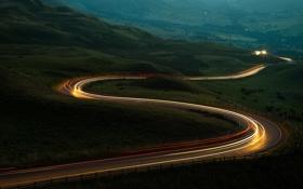 Обои дорога, горы, вечер, сумерки, серпантин