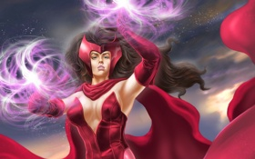 Обои фантастика, арт, костюм, красные, Marvel, способности, Scarlet Witch