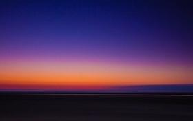 Обои небо, закат, горизонт, зарево