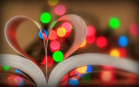 Картинка макро, огни, книга, сердечко
