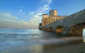 Картинка пейзаж, мост, озеро, замок