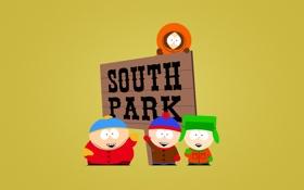 Картинка надпись, четверо, Южный парк, светлый фон, улыбки, South Park, приветствие