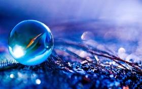 Картинка стекло, синий, отражение, шарик